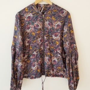 FREE PEOPLE floral bomber Zip up w/ bell sleeves